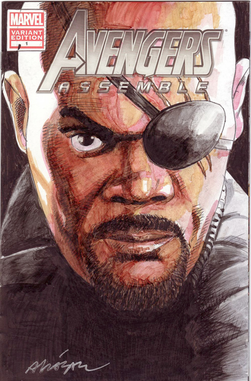 Nick Fury Front by Vicente Alcazar